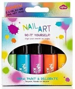 NPW Lot de 5 mini feutre pour nail art (arc-en-ciel)