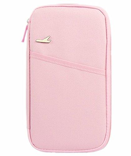 linshe Unisex da viaggio multifunzione Portafoglio passaporto/biglietti/carta di credito tasca documento Borsa 600d Oxford tessuto Custodia protettiva da viaggio essentials pacchetto donne uomini paio Pink