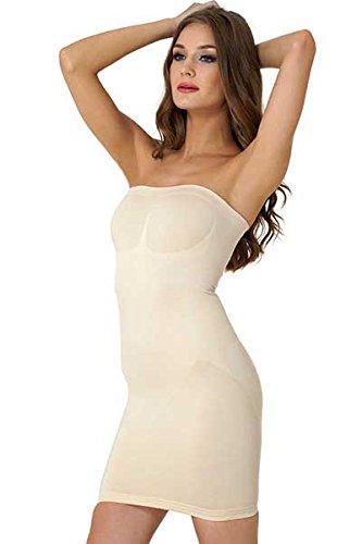 Formeasy Figurformendes Damen Miederkleid Trägerlos, Bauchweg Unterkleid, Body Shaper, stark Formende Unterwäsche Formwäsche (XL,Beige)
