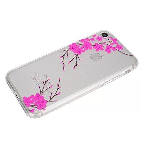 Etsue Coque Housse pour [iPhone 6 Plus/6S Plus] Case ,Joli Imprimé Peint énergie Papillon Motif Design Anti-Scratch Protector Coque de Téléphone pour iPhone 6 Plus/6S Plus Transparente Ultra Mince Sup Peach blossom