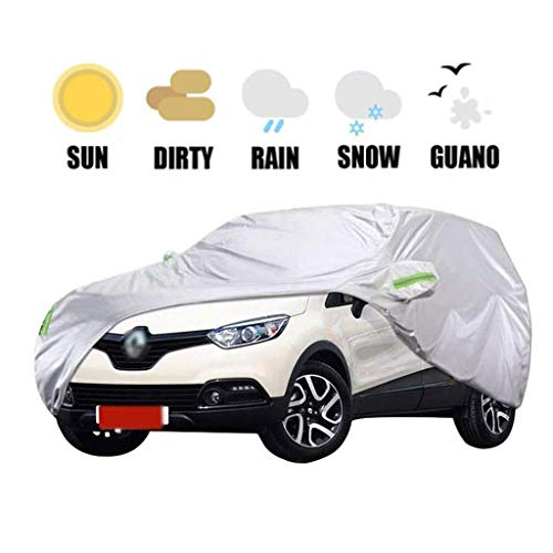 POLKMN Autoabdeckung Autoplanen Auto Abdeckplane Auto Kleidung SUV wasserdichte Sonnenschutz Regenschutz im Freien Innen Thick Oxford Cloth Kompatibel mit Renault Captur (Size : 2018)