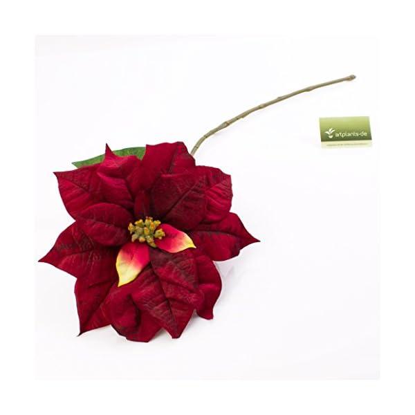 artplants.de Decorativa Flor de Pascua – Ponsetia, Rojo, 80cm, Ø 27cm – Flor Artificial – Flor sintética