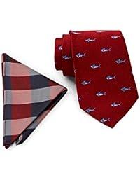 Tommy Hilfiger Men's 100% Silk Shark Tie & Gingham Pocket Square Boxed Set, OS (Red)