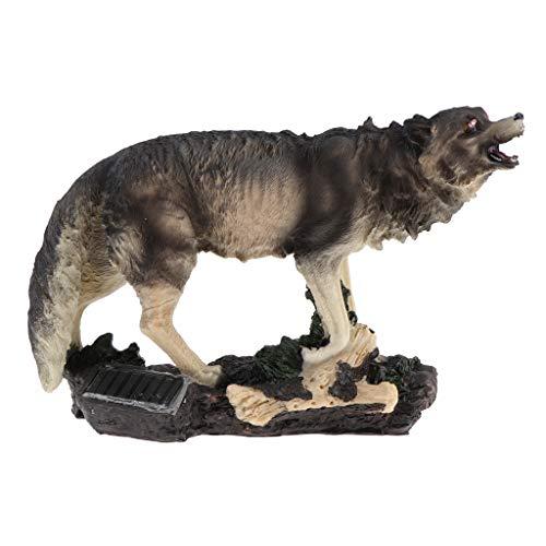 FLAMEER Süße Wolf Tiermodelle Gartenfigur Vogelfigur Skulptur mit Solar Augen, 30 x 10 x 22 cm, auch pädagogische Spielzeug