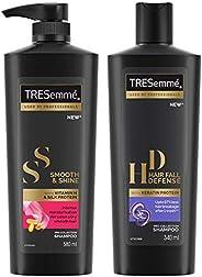 TRESemme Smooth and Shine Shampoo, 580ml & TRESemme Hair Fall Defense Shampoo, 340ml