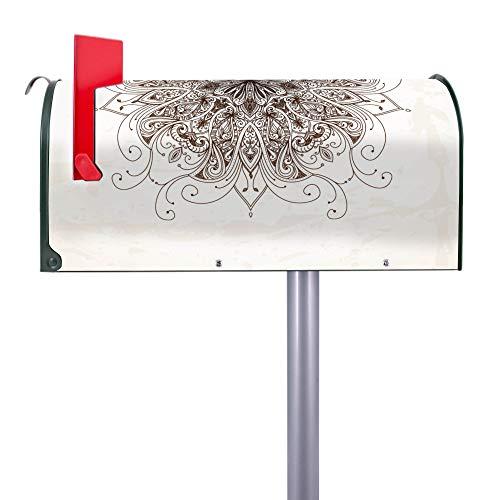 BANJADO US Mailbox | Amerikanischer Briefkasten 51x22x17cm | Letterbox Stahl Grün | mit Motiv Mehendi | inklusive silbernem Ständer -