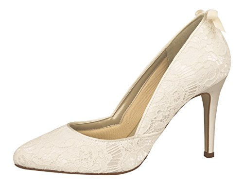 Rainbow Couture Brautschuhe Agnes Ivory Vintage Satin (Bliss), Ivory, 41 EU
