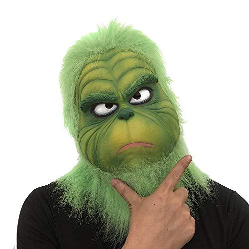 Fulltime E-Gadget Grüne Haarmaske, Weihnachten Grinch Maske Schmelzen Gesicht Latex Kostüm Sammlerstück Prop Scary Mask Spielzeug für Karneval, Weihnachten, Ostern, Silvesterparty, Halloween ()
