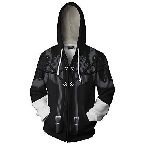 Qian Qian Unisex Sora Hoodie Sweater Kapuzenpullover Halloween Cosplay Kostüm Zip Hoodie Jacke (M, Schwarz 5) (Riku Cosplay Kostüm)