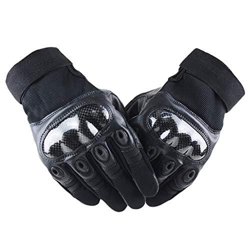 Guanti da Moto Guanti a Dito Pieno - Calotta di Protezione per Nocche in Fibra di Carbonio/Traspirante/Antiscivolo/Anti-Impact per Motociclo, Sciare, Equitazione,L