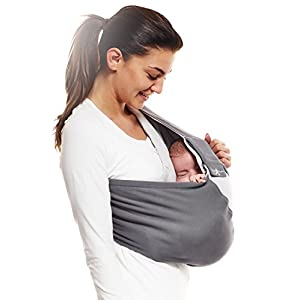 Wallaboo Wrap Sling Carrier Connection, Easy Adjustable, Ergonomic, 3 Carrying Positions, Newborn 8lbs to 33 lbs, Soft Breathable Cotton, 3 Sitting Positions, EU Safety Tested, Color: Grey / Silver   13