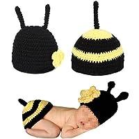 Tenflyer Súper Abeja linda hecha a mano del ganchillo del Knit Cap recién nacido foto del bebé Atrezzo Outfit Costume Set