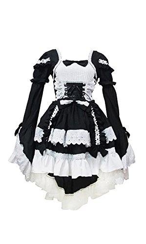 Lolita Gothic Punk Kleid Schick Cosplay Kostüm (Schwarz -