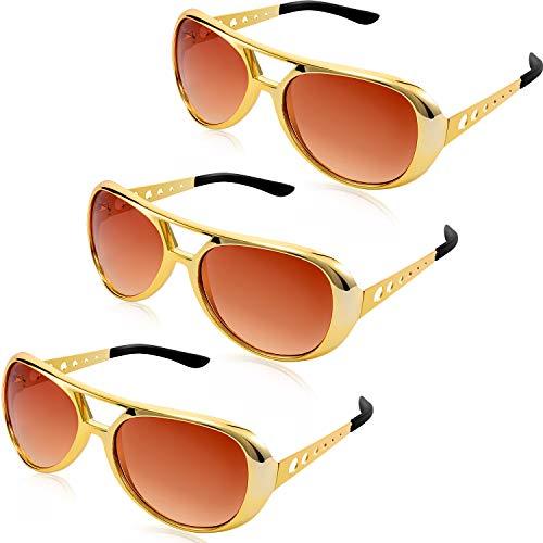 Frienda 3 Stücke Rockstar Gläser Presley Sonnenbrillen Fliegerbrille 50's und 60's Stil Gläser für Retro Mottoparty Kostümzubehör (3 Person Passenden Kostüm)
