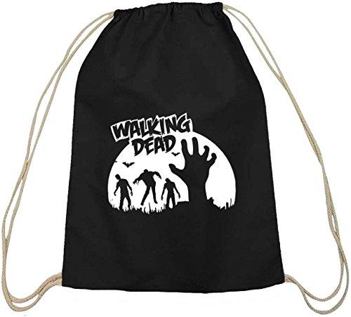 E WALKING DEAD, Baumwoll natur Turnbeutel Rucksack Sport Beutel, Größe: onesize,schwarz natur (Dead Nerd Halloween)