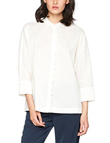 RENÉ LEZARD Damen Bluse H015S0047, Weiß (Offwhite 002), 34 (Stretch Popeline-bluse Baumwolle)