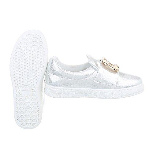 Ital-design Chaussures Femme Baskets Plat Sneaker Low Silver