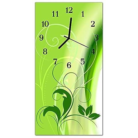 Glasuhr von DekoGlas 30x60cm waagerechte Bilderuhr aus Acryl-Glas mit lautlosem Quarzuhrwerk Dekouhr Glaswanduhr Uhr aus PMMA Wanduhren Küchenuhr Wanddekoration Glasbilder Muster Grün
