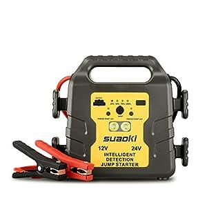SUAOKI G19S – 24000mAh Jump Starter, 1000A arrancador de Coche 12v/24v batería identificación automática (USB Puerto…