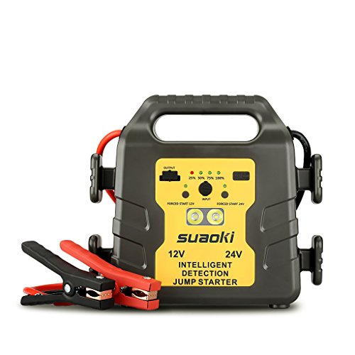 Suaoki G19S - 24000mAh jump starter, 1000A arrancador de coche 12v/24v batería identificación automática (USB Puerto, Sistema Protective para Coches, Autobús, Máquinas, Camionetas, Vehículos pesados)