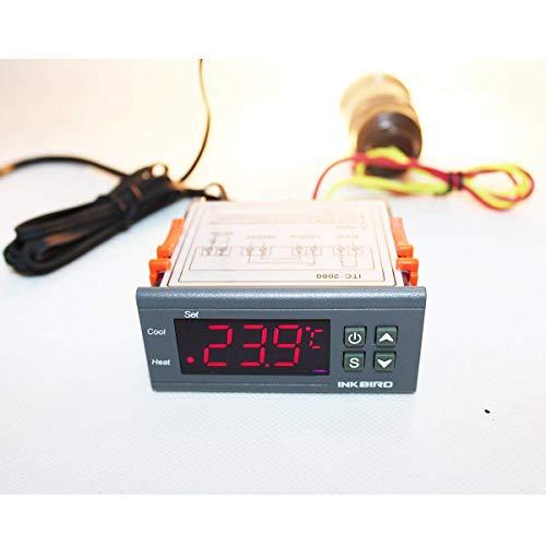 Inkbird ITC-1000 Termostato Digital Calefaccion y Refrigeración con Sonda 12v, Display LCD y 2 Relés Control de Temperatura para Incubadora Terrario, Calentador de Agua, Enfriador Industrial
