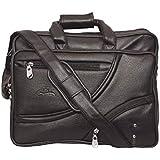 Leather World Expandable 15.5 Inch Black Artificial Leather Handmade Laptop Bag Cross Over Shoulder Messenger Bag Office Bag   Laptop Briefcase Laptop Bags