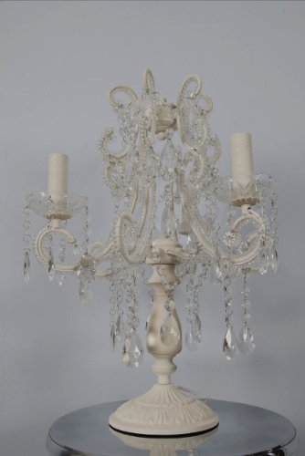 Vintagevibe Juliette - Antique White 3 Branch Chandelier Table Lamp