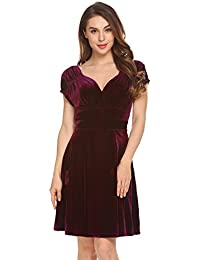10bc1da91be2 Meaneor Women Cap Sleeve V-Neck Velvet Backless Ruched Flattering Stretch  Spring Dresses