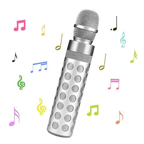 SENDOW Tragbare Drahtlose Karaoke Mikrofon Bluetooth Lautsprecher für Apple iPhone Android Smartphone Oder PC, Startseite KTV Outdoor Party Musik Spielen Singen (Silber)