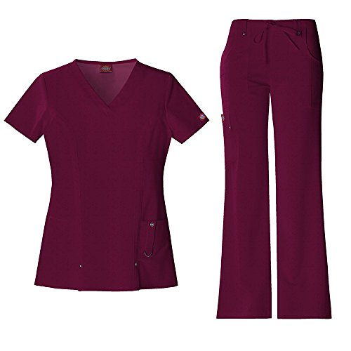 Medical Scrubs Und Uniformen (Dickies Xtreme Stretch Damen 82851 V-Neck Top & 82011 Kordelzug Medical Uniform Scrub Set (Wein - XXXXX-Large))