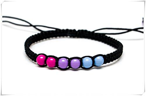 Imagen de pulsera de orgullo con el orgullo de macrame, pulsera de orgullo rosa púrpura azul,