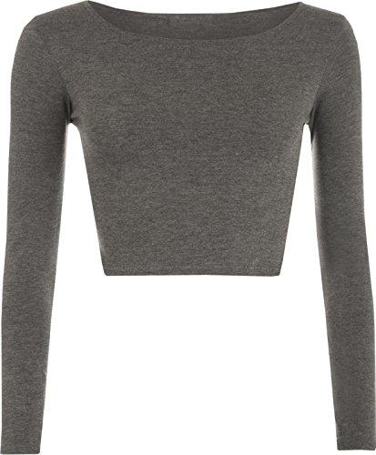 Elle Neuf pour femme Crop T-shirt à manches longues pour femme Court Uni col rond Top 8–14 Charbon