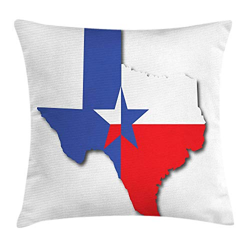 MSGDF Texas Star Throw Pillow Cushion Cover, Outline of The Texas Map American Southwest Austin Houston City, Decorative Square Accent Pillow Case, 18 X 18 inches, Vermilion White Violet Blue