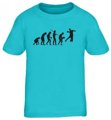 Shirtstreet24, EVOLUTION HANDBALL, WM EM Sport Kinder Fun T-Shirt , Größe: 152/164,türkis