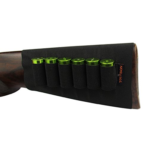 Tourbon Escopeta Munición Elástico Manga Buttstock Calibre 12 Shotshell Holder- Dobles Manos