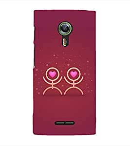 PrintVisa Designer Back Case Cover for Alcatel Flash 2 :: Alcatel Onetouch Flash 2 (Red Rose color design :: Love clipart design :: Animated lovely couple design :: Beautiful color design :: Lovely design)