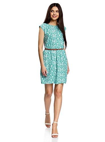 oodji Ultra Damen Ärmelloses Kleid aus Bedruckter Viskose, Grün, DE 40 / EU 42 / L