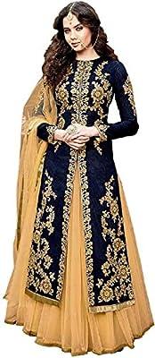 Mashur fab Women's Bangalori Silk Anarkali salwar suit type gown (Blue, Free Size)