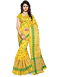 Maahik Women's Cotton Silk Yellow Saree