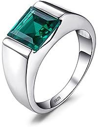 42682354064d JewelryPalace Hombre Anillo Sólido Creado Alejandrita Zafiro Rubí Creado  Zafiro creado Esmeralda simulada nano rusa Cuarzo