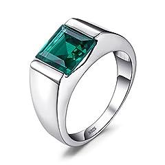 Idea Regalo - JewelryPalace Uomo Quadrata 2.2ct Sintetico Russo Nano Verde Artificiale Smeraldo Fidanzamento Anello 925 Sterling Argento 17