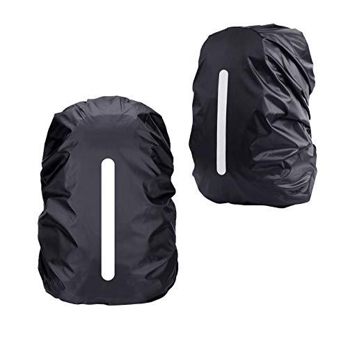 KATOOM Parapioggia per Zaino 2 PCS Copertura per la Pioggia dello Zaino Nero Allaperto Impermeabile Antipolvere Ciclismo Escursioni Campeggio Viaggi