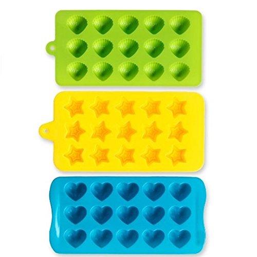 Silikon Molds- Senhai 3er Packung Bonbons, Schokolade Formen Eis-Würfel-Behälter - Hearts, Stars & Muscheln, Spaß, Spielzeug für Kinder Set