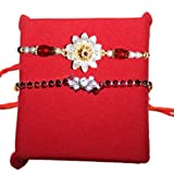 Handicrunch Rakhi with Stunning pair Stone Rakhi set of 2