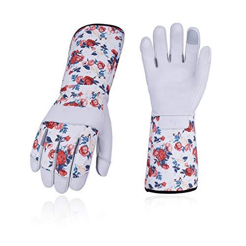 Vgo 2 Paare Rosagarten- und Arbeitshandschuhe, mit Langen Armen und Soften Ziegenlederpalmen, für Rosa oder Kaktusgartebarbeit, Weibliche Handschuhe (9/L, Weiß, GA9658) -