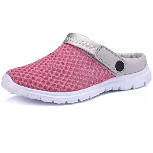 e88b538fa849 Hishoes Sabots Chaussons Homme Femme Été Pantoufles Maille Sandales Léger  Chaussures de Plage et Jardin Rose