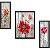 "SAF""Flower Print"" Framed Painting (Synthetic, 35 Cm X 50 Cm X 2 Cm, UV Textured, Set Of 3, SANFSA9151)"