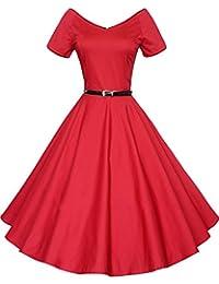 LUOUSE Rétro Vintage années 50 's Style Audrey Hepburn Rockabilly Swing, Robe de Bal à Manches Courtes avec Ceinture
