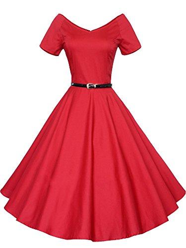LUOUSE 40s 50s 60s Vintage V-Ausschnitt Schwingen Rockabilly Pinup Ballkleid Partei Kleid,Red,L