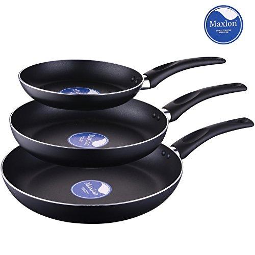 COOKSMARK® Juego Económico de 3 Sartenes Antiadherentes Juego Sartenes de Aluminio de 20cm 26 cm 30 cm Negro sin PFOA Apta para lavavajillas